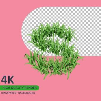 잔디 알파벳 대문자 s 3d 모델 렌더링