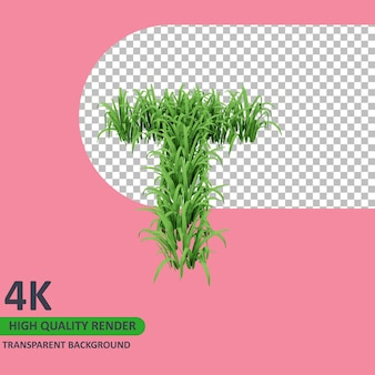 3d 모델 렌더링 잔디 알파벳 대문자 t