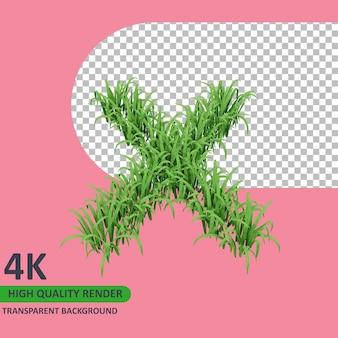 3d 모델 렌더링 잔디 알파벳 대문자 x