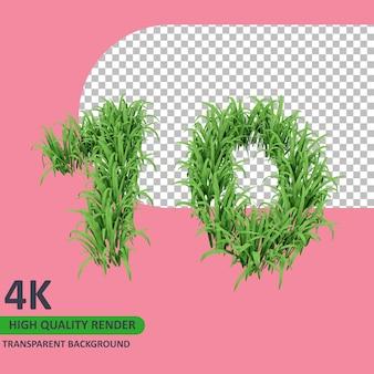 3d 모델 렌더링 잔디는 숫자 10을 형성합니다.