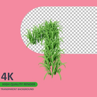 3d 모델 렌더링 잔디는 숫자 1을 형성합니다.