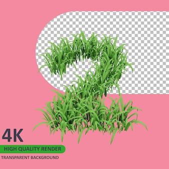 3d 모델 렌더링 잔디는 숫자 2를 형성합니다.