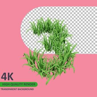 3d 모델 렌더링 잔디는 숫자 3을 형성합니다.