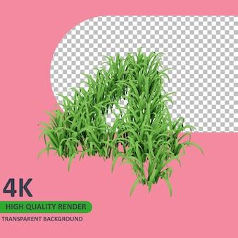 3d 모델 렌더링 잔디는 숫자 4를 형성합니다.