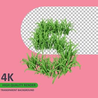 3d 모델 렌더링 잔디는 숫자 5를 형성합니다.