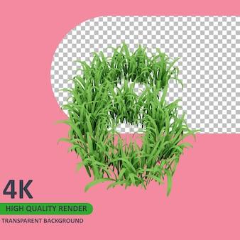 3d 모델 렌더링 잔디는 숫자 6을 형성합니다.