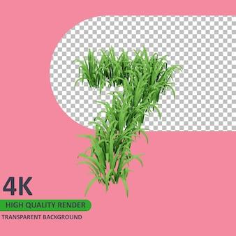 3d 모델 렌더링 잔디는 숫자 7을 형성합니다.