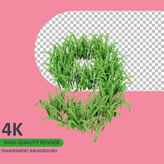 3d 모델 렌더링 잔디는 숫자 9를 형성합니다.