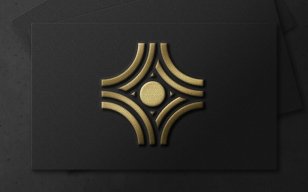 3d modern gold foil luxury logo on card mockup