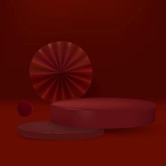 빨간 연단과 3d 현대 제품 배경 psd
