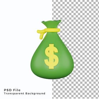 3d денежный мешок значок иллюстрации высокого качества