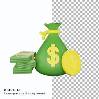 Значок мешок денег 3d с монетой доллар иллюстрации высокого качества