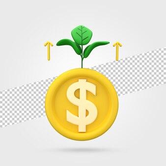 3d визуализация значок роста денег