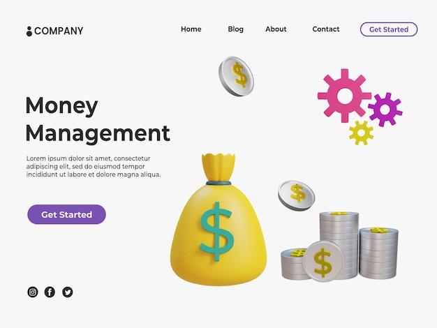 3d концепция управления деньгами с иллюстрацией денег и монет для целевой страницы