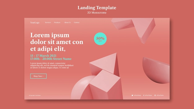 3d monochrome shapes landing page