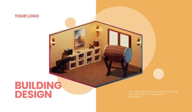 3d 모스크 건물 디자인 웹 배너