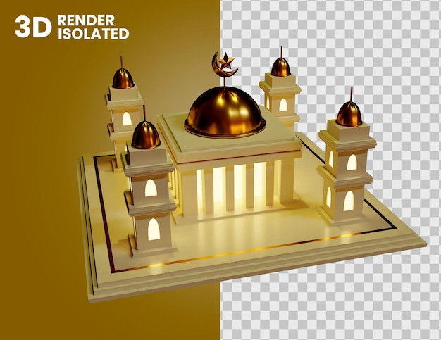 3d mosque at night with lamp light icon isolated
