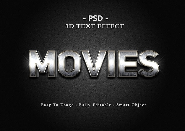 3d movies text effect