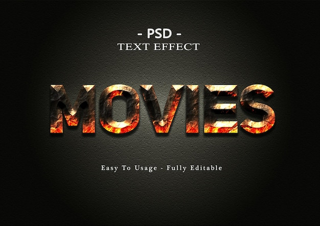 3d movies text style effect