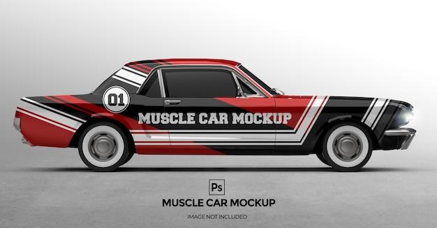 3dマッスルカーのモックアップデザインのプレゼンテーション