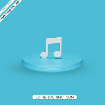 3d music render icon isolated