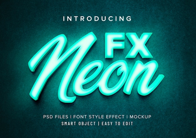 3d neon font style effect mockup