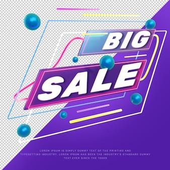 3d neon light big sale discount tittle promotion banner