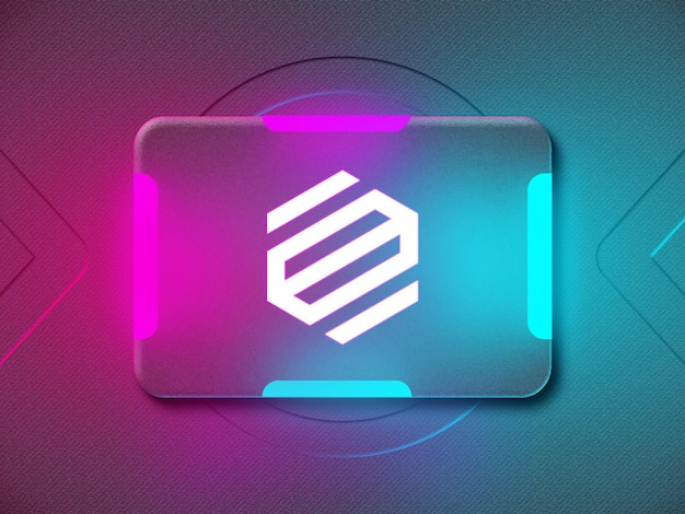 3d neon logo mockup with blue and purple reflective neon light