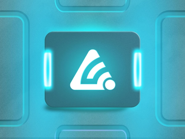 青い反射ネオンライト付きの3dネオンロゴモックアップ
