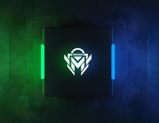 녹색과 파란색 반사 네온 불빛이있는 3d 네온 로고 모형