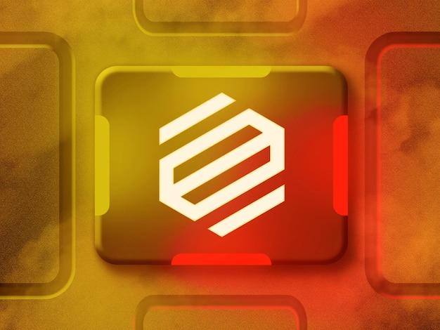 黄色と赤の反射ネオンライト付きの3dネオンロゴモックアップ