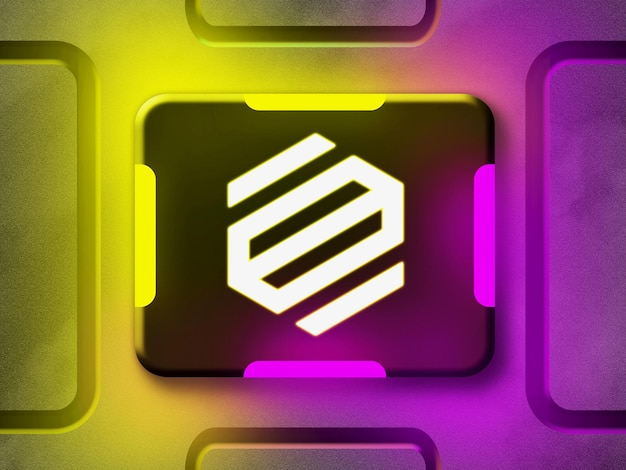 3d neon logo mockup with yellow and purple reflective neon light