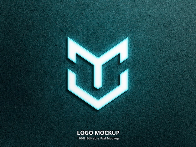 3d неоновый макет логотипа