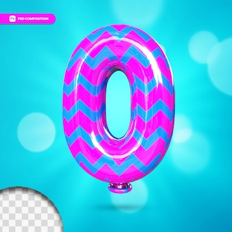 3d number 0 helium foil balloon
