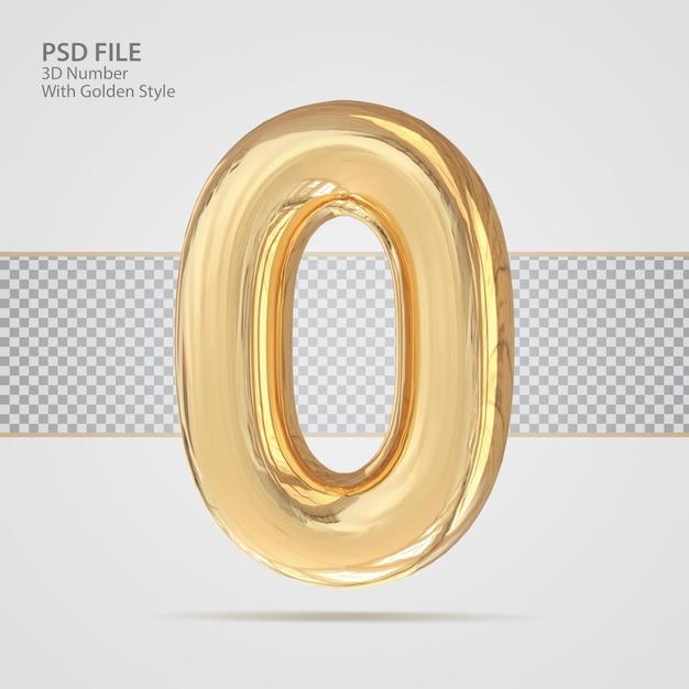 3d номер 0 с золотым стилем роскошный креатив