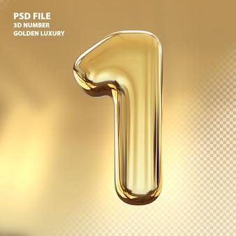 3d номер 1 золотой роскошный рендер