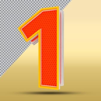 3d 숫자 1 스타일 색상 주황색 png