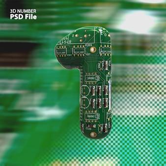 3d номер 1 текстуры электронных плат pcb рендеринга