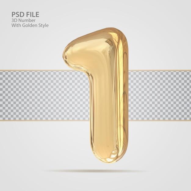 3d номер 1 с роскошным креативом в золотом стиле