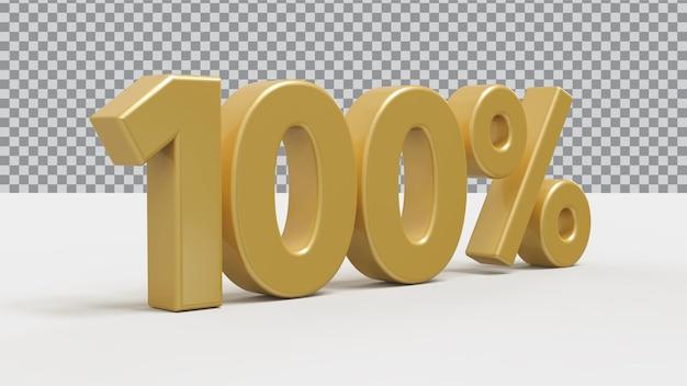 3d номер 100 процентов золотой роскоши рендера
