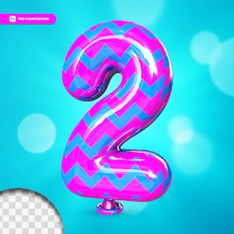 3d number 2 helium foil balloon