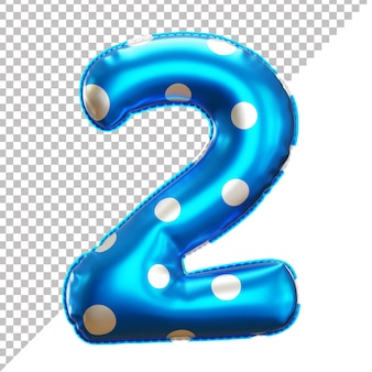 3d number 2 polka dots helium foil balloon