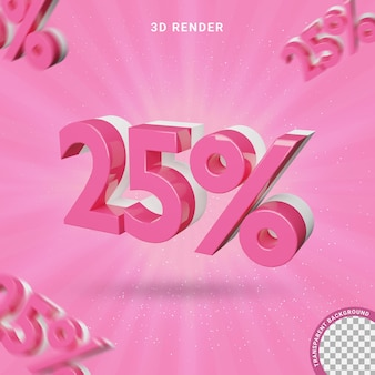 3d number 25 percent pink color modern text effect