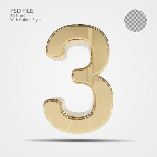 3d номер 3 золото