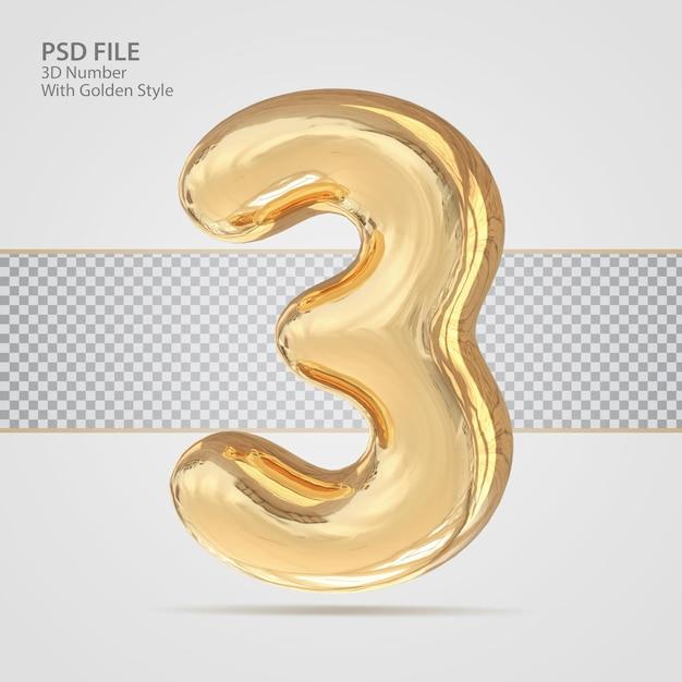 3d номер 3 с роскошным креативом в золотом стиле