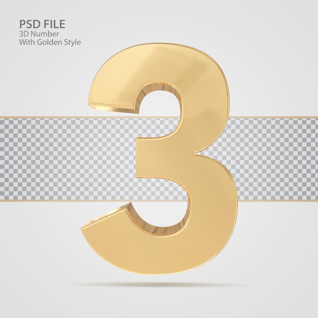 3d номер 3 с золотым стилем визуализации роскоши