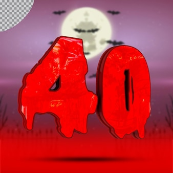 할로윈의 3d 숫자 40