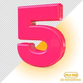 3d number 5 all color pick