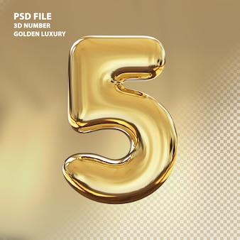 3d номер 5 золотой роскошный рендер