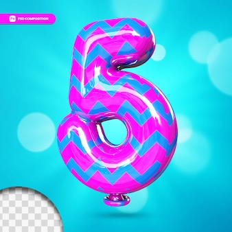 3d number 5 helium foil balloon